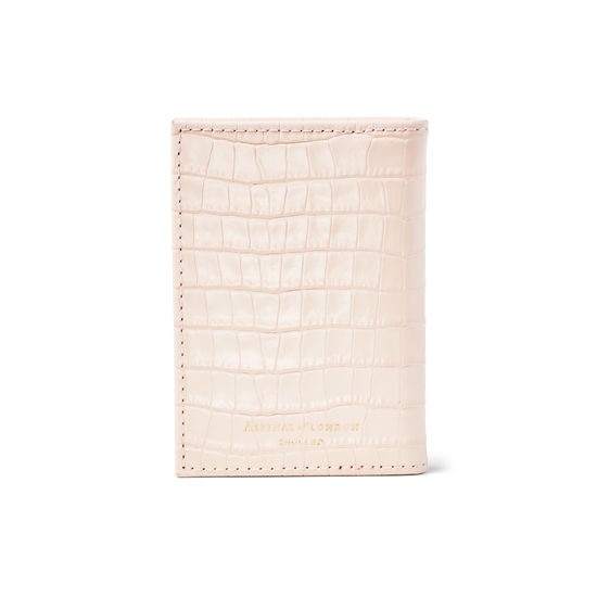 Double Fold Credit Card Case in Deep Shine Shell Pink Small Croc from Aspinal of London