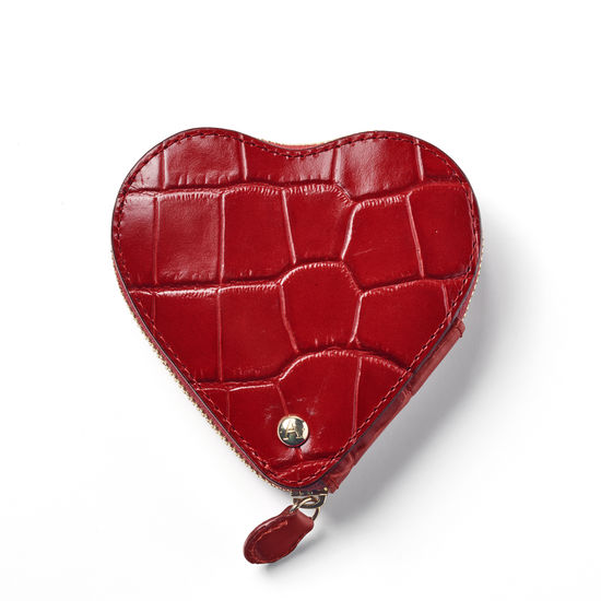 Heart Coin Purse in Deep Shine Red Croc from Aspinal of London