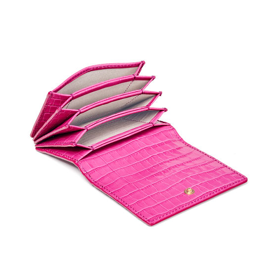 Accordion Credit Card Holder in Deep Shine Penelope Pink Small Croc from Aspinal of London