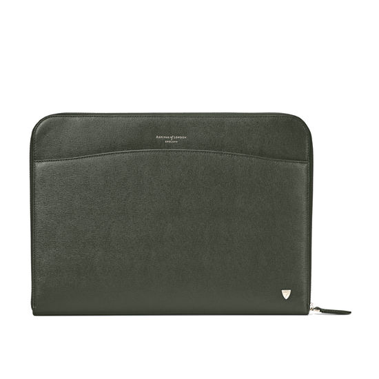 City Laptop Folio in Dark Green Saffiano from Aspinal of London