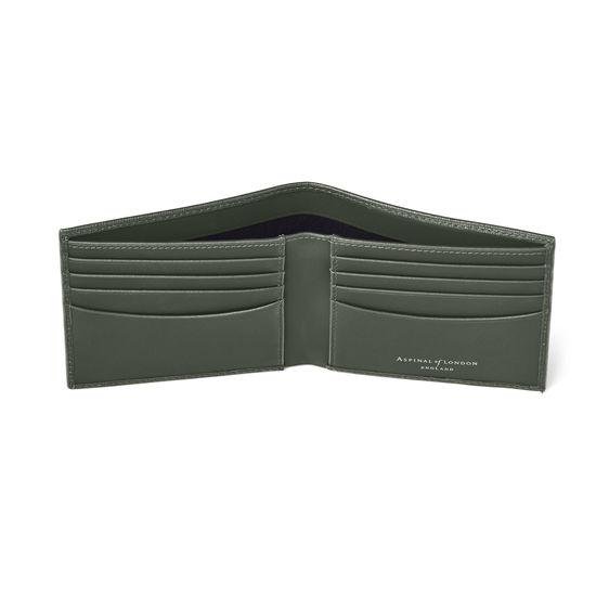 8 Card Billfold Wallet in Dark Green Saffiano from Aspinal of London
