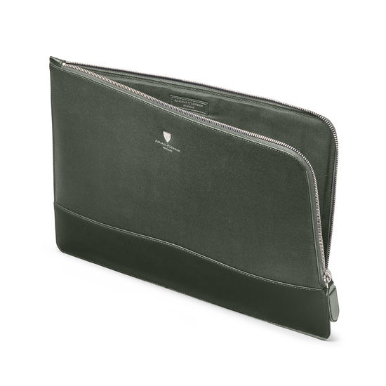 City Large Tech Folio in Dark Green Saffiano from Aspinal of London