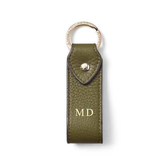 Leather Loop Keyring in Olive Pebble from Aspinal of London