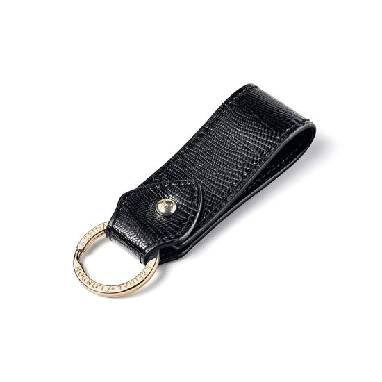 Leather Loop Keyring in Black Lizard from Aspinal of London
