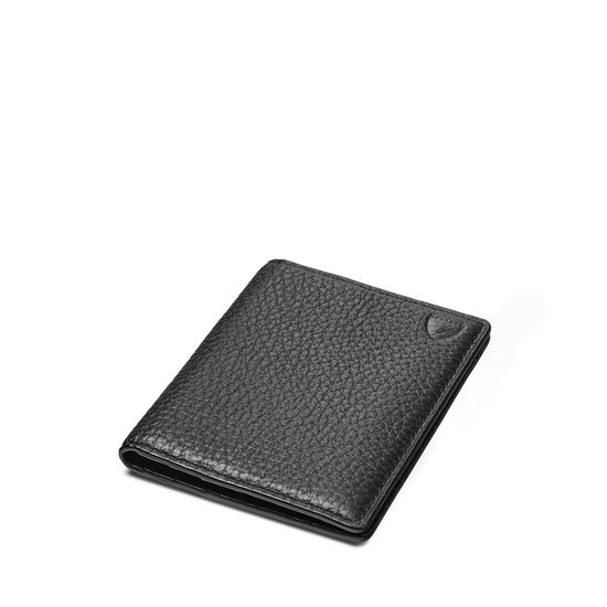 Double Fold Credit Card Holder in Black Pebble from Aspinal of London