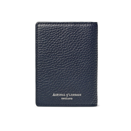 Double Fold Credit Card Holder in Navy Pebble from Aspinal of London