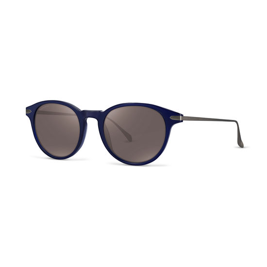 Larvotto Sunglasses in Midnight Blue Acetate & Gunmetal from Aspinal of London
