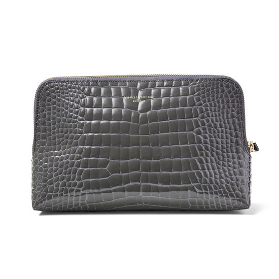 Large Essential Cosmetic Case in Storm Patent Croc from Aspinal of London