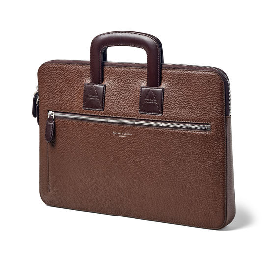Connaught Document Case in Tobacco Pebble from Aspinal of London