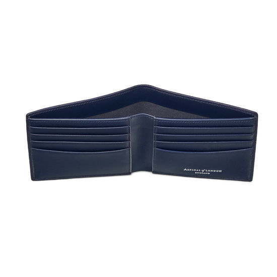 8 Card Billfold Wallet in Navy Saffiano & Smooth Navy from Aspinal of London
