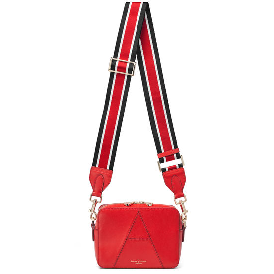 Webbing Bag Strap in Scarlett Saffiano with Red, Black & White Stripes from Aspinal of London