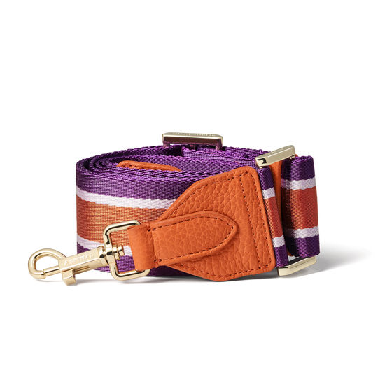 Webbing Bag Strap in Marmalade Pebble with Marmalade & Plum Stripes from Aspinal of London
