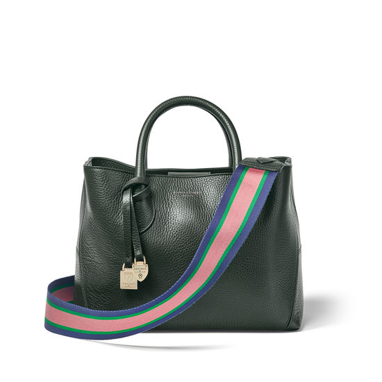 Webbing Bag Strap in Evergreen Pebble with Navy, Green & Pink Stripes from Aspinal of London