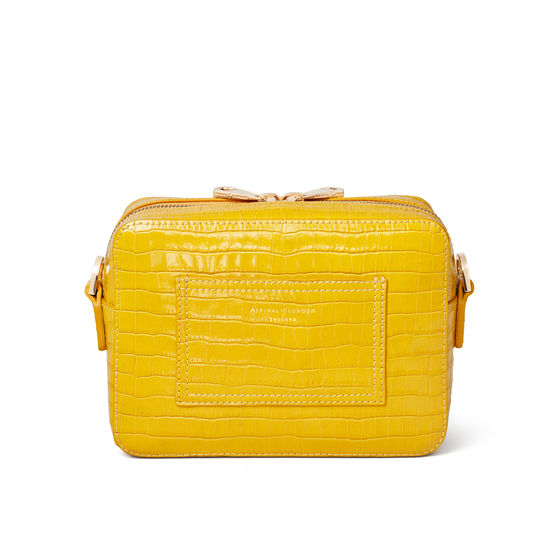 Camera Bag in Deep Shine Bright Mustard Small Croc from Aspinal of London