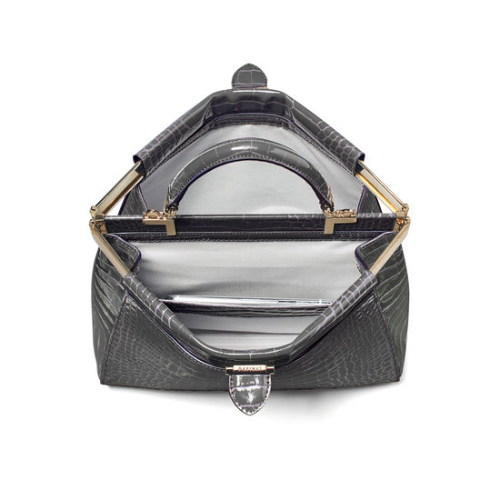 Small Florence Frame Bag in Storm Patent Croc from Aspinal of London