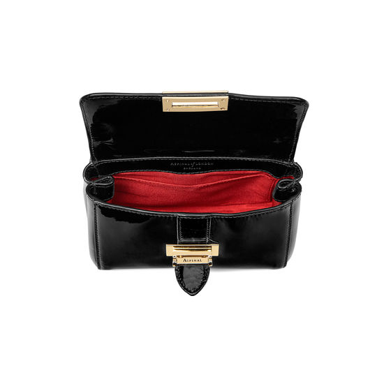 Micro Lottie Bag in Black Patent from Aspinal of London
