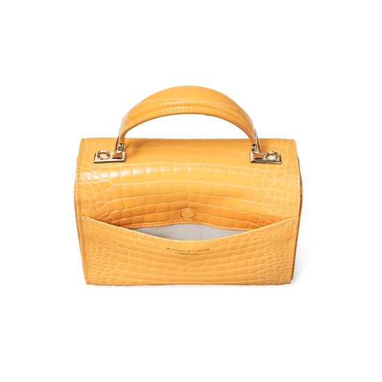 Midi Mayfair Bag in Meadow Patent Croc from Aspinal of London