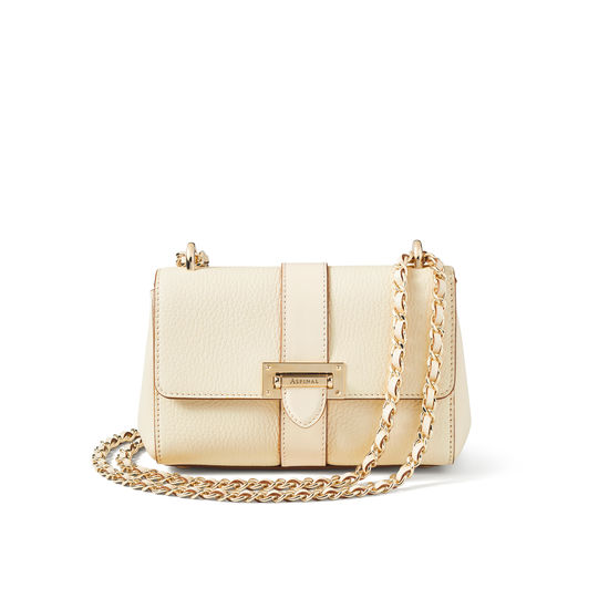 Micro Lottie Bag in Ivory Pebble from Aspinal of London