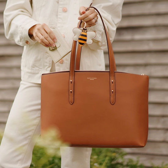 Zipped Regent Tote in Smooth Tan from Aspinal of London