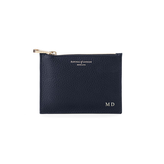 Small Essential Flat Pouch in Navy Pebble from Aspinal of London
