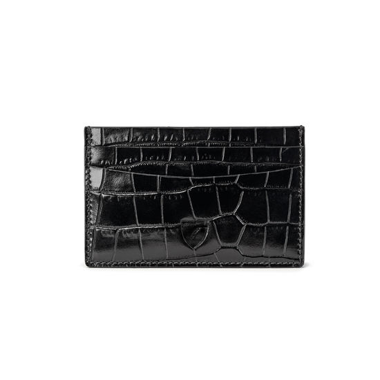 Slim Credit Card Case in Deep Shine Black Croc from Aspinal of London