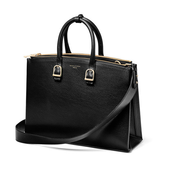 Madison Tote in Black Pebble from Aspinal of London