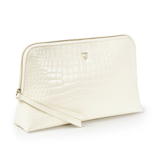 Large Essential Cosmetic Case in Ivory Patent Croc from Aspinal of London