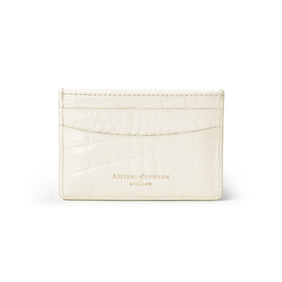 Slim Credit Card Holder in Ivory Patent Croc from Aspinal of London