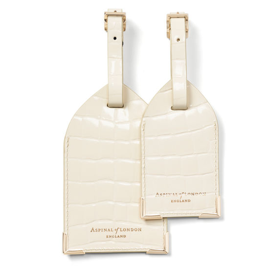 Set of 2 Luggage Tags in Ivory Patent Croc from Aspinal of London