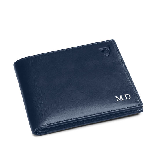8 Card Billfold Wallet in Smooth Navy from Aspinal of London