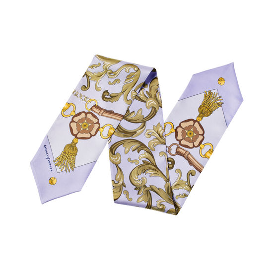 Signature Shield Neck Bow Scarf in English Lavender Silk Twill from Aspinal of London