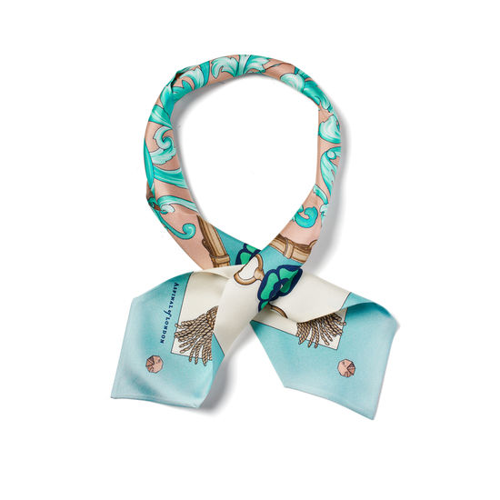 Signature Shield Neck Bow Scarf in Blush & Teal Silk Twill from Aspinal of London