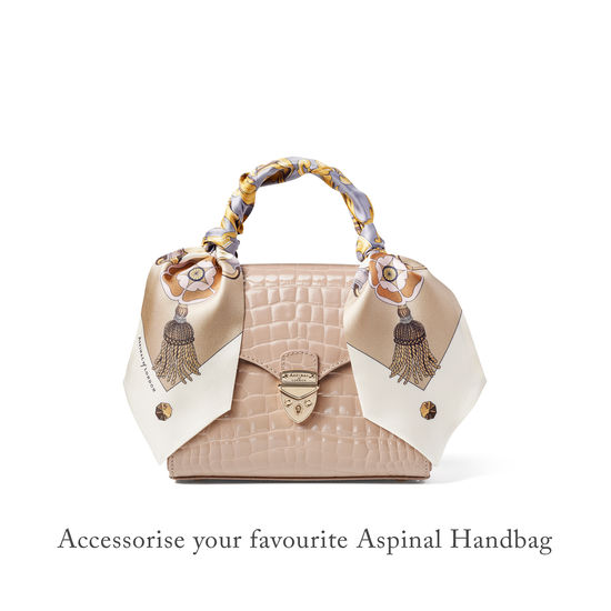 Signature Shield Neck Bow Scarf in Neutral Silk Twill from Aspinal of London