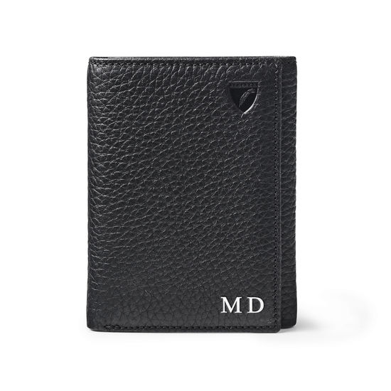 Trifold Wallet in Black Pebble from Aspinal of London