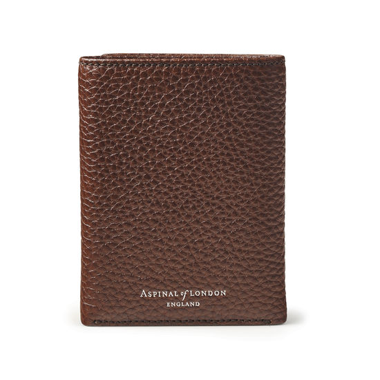Trifold Wallet in Tobacco Pebble from Aspinal of London