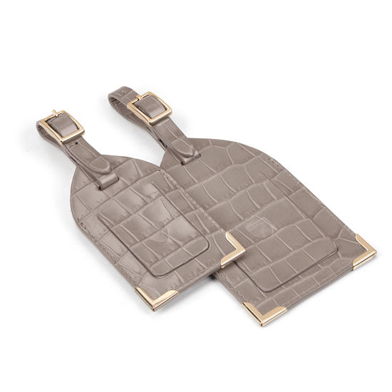 Set of 2 Luggage Tags in Deep Shine Warm Grey Small Croc from Aspinal of London