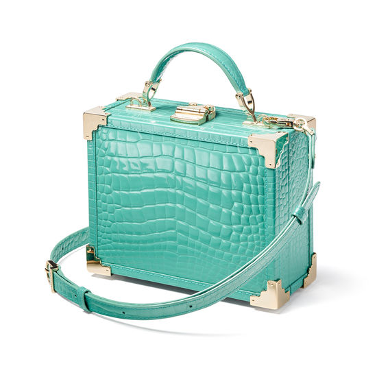 The Trunk in Chalkhill Blue Patent Croc from Aspinal of London