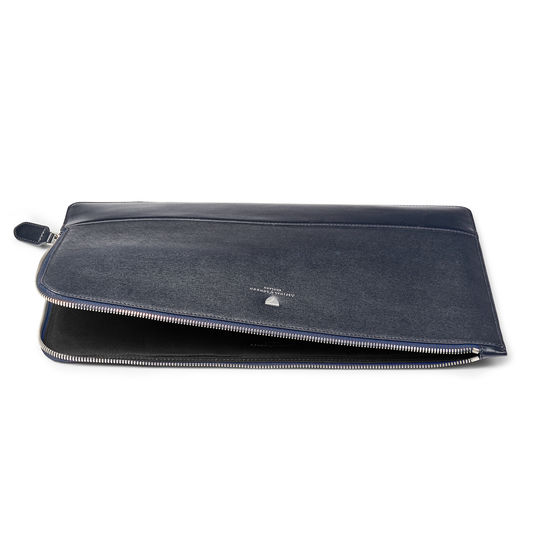 City Large Tech Folio in Navy Saffiano from Aspinal of London