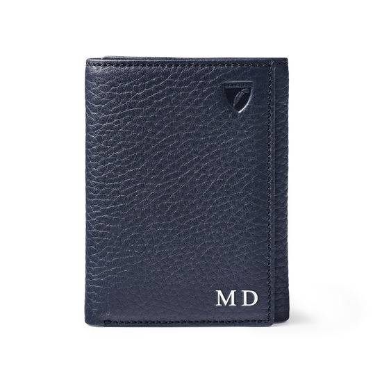 Trifold Wallet in Navy Pebble from Aspinal of London