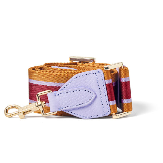 Webbing Bag Strap in English Lavender Pebble with Lavender, Tan & Cherry Stripes from Aspinal of London