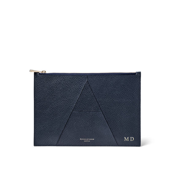 Large Essential 'A' Pouch in Navy Pebble from Aspinal of London