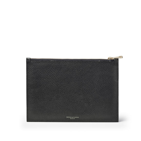 Large Essential 'A' Pouch in Black Pebble from Aspinal of London