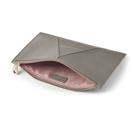 Large Essential 'A' Pouch in Warm Grey Pebble from Aspinal of London