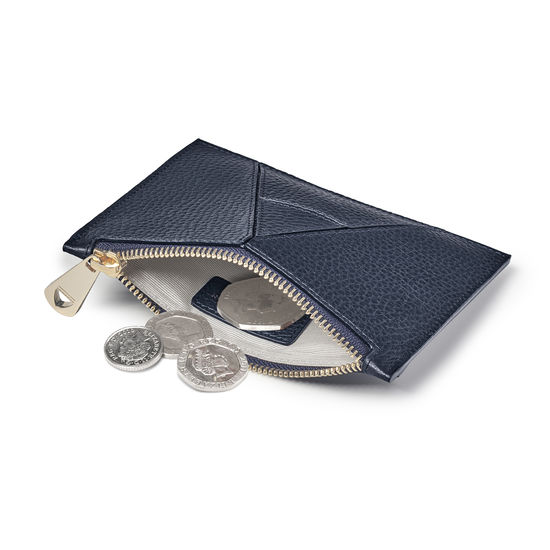 Small Essential 'A' Pouch in Navy Pebble from Aspinal of London