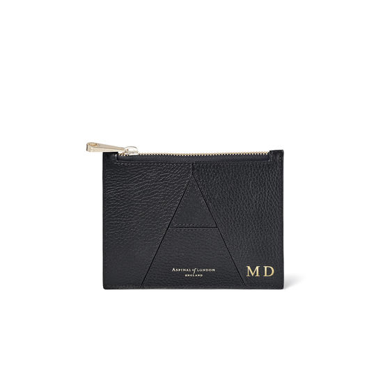 Small Essential 'A' Pouch in Black Pebble from Aspinal of London