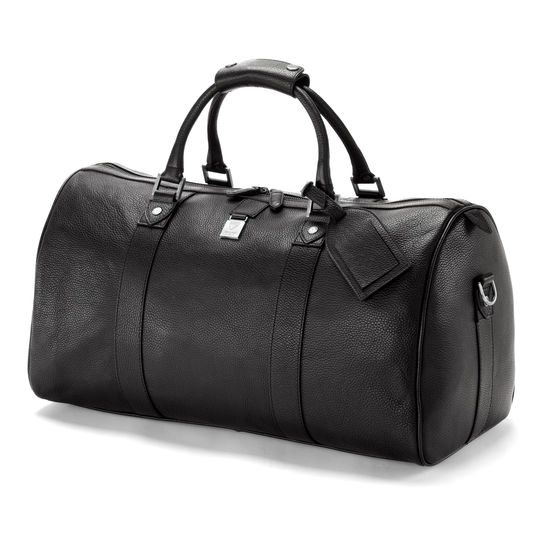 Boston Bag in Black Pebble with Silver Hardware from Aspinal of London