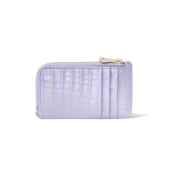 Zipped Coin & Card Holder in Deep Shine English Lavender Small Croc from Aspinal of London