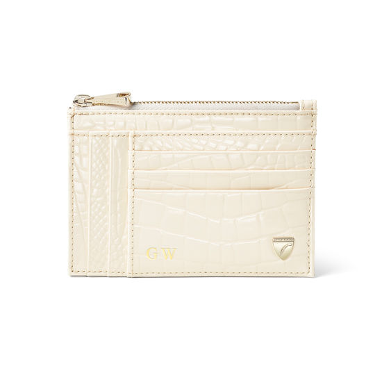 Double Sided Zipped Card & Coin Holder in Ivory Patent Croc from Aspinal of London