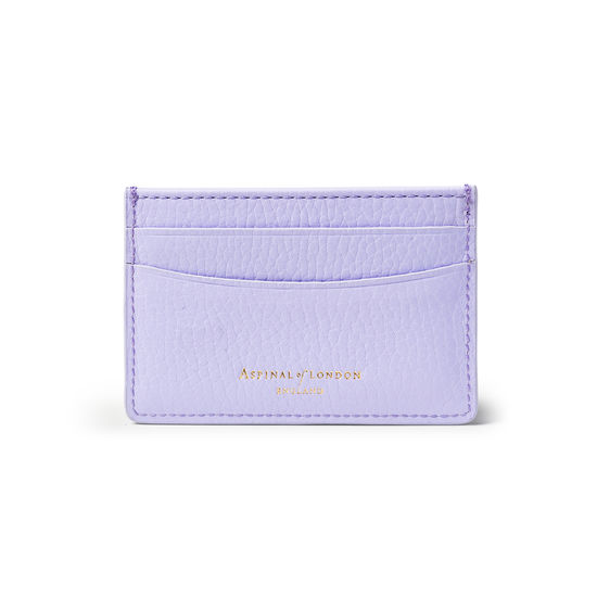 Slim Credit Card Holder in English Lavender Pebble from Aspinal of London