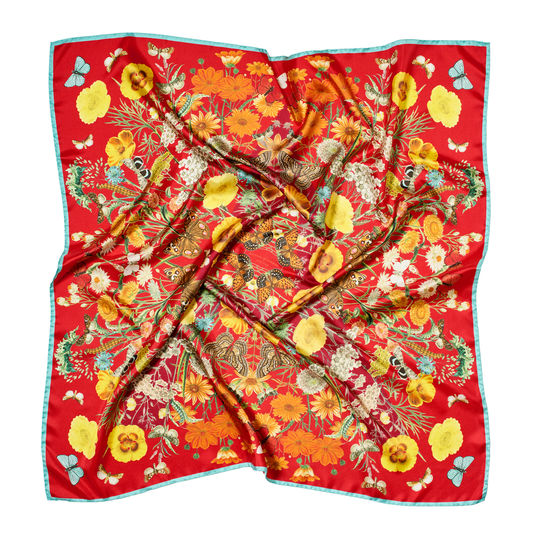 Botanical 'A' Silk Scarf in Cherry Pure Silk from Aspinal of London